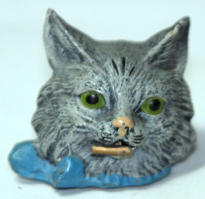 RaRe ANTIQUE c1800's  figural~ metal KITTEN CAT Wind-uP sewing tape measure~~