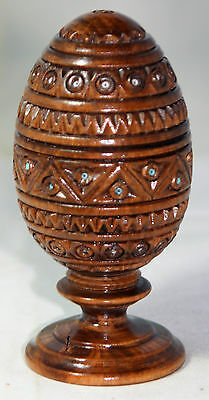 RARE ANTIQUE c1800's~~Coquilla NUT;EGG & STAND~~HAND CARVED Diamond Pattern