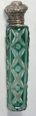 GoRgEoUs!!! ANTIQUE c1800's~~SILVER & etched GREEN GLASS SCENT BOTTLE~~Original
