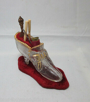 GLASS SHOE ETUI Sewing Set ;ANTIQUE  thimble, book mark,bodkin,needle,awl