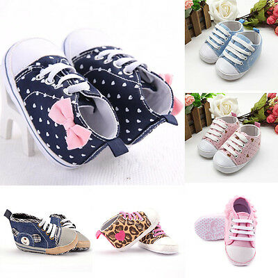 Toddler Baby Girl Boy Canvas Cowboy Lace Soft Crib Sole Shoes Newborn Sneakers