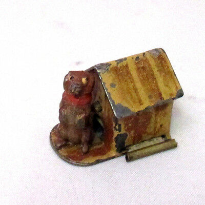 18th Century metal wind-up DOG & HOUSE,TAPE MEASURE;  ANTIQUE Original VERY RARE