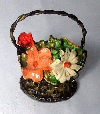Unique FLORAL BASKET Tape Measure  c1930  Original ANTIQUE metal & ceramic MIX