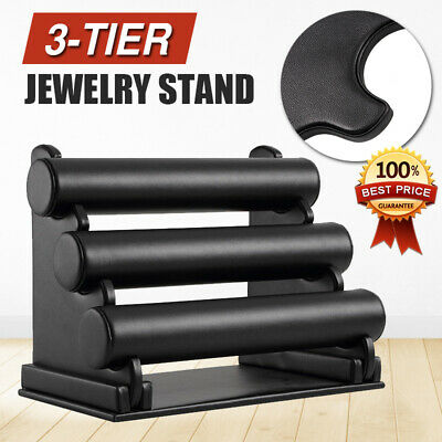 3-Tier Velvet Leatherette Jewelry Bracelet Watch Display Holder Stand Showcase