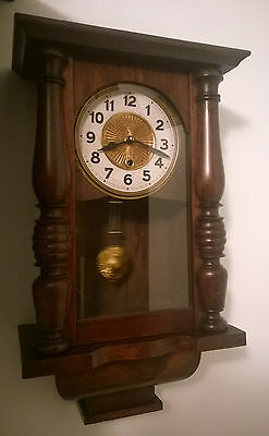 Small Antique Vintage German Wall Clock 8-Day Time-Only Restored Fully Working