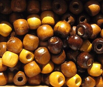 Imperfect brown mix wooden dreadlock beads small 12mm, 5mm hole - 10, 15 or 20