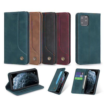 Classic Flip Genuine Leather Magnetic Strap Lot Card Pocket Kickstand Case Cover