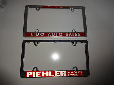 Lot of 2 Early License Plate Frames Holders Auto Dealers