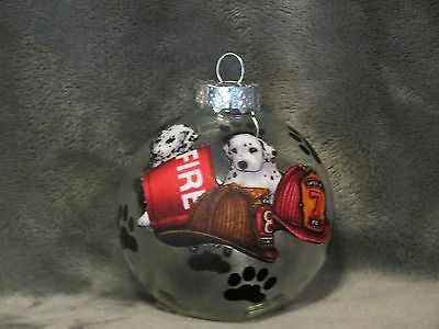 "Hand Made Dalmatian Fire House Firefighter Dog 3"" Glass Christmas Ornament/ball"