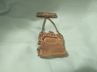 Antique Goldtone Mesh Mini Purse W/Brooch Clip For Trinkets Pills