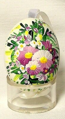 Genuine Hand painted Duck Egg w/Pink Pansy Floral-Easter Ornament/Gift-Poland