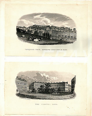 Nice Antique Architecture Engraving Print CAVENDISH PLACE, THE CIRCUS, Bath
