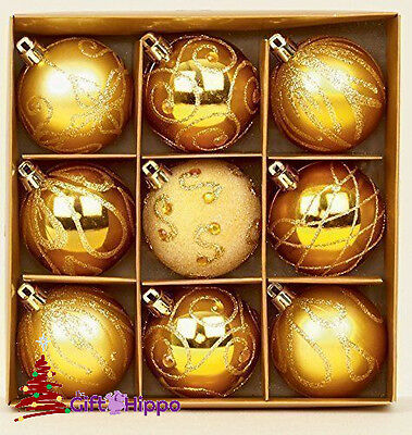 Christmas Tree Decoration - 60mm Gold Baubles - 9 Shatterproof Baubles