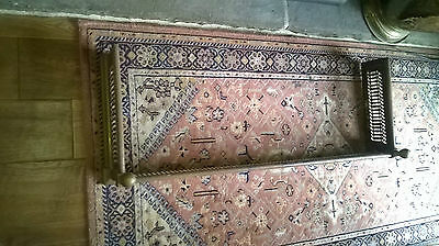 Antique Victorian / Edwardian Brass Fire Fender, Bedroom Fire,36X13X7""