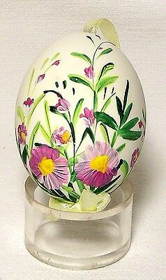 Genuine Hand painted Duck Egg w/Field Pansy Floral-Easter Ornament/Gift-Poland