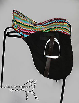 SADDLE COVER Ride on seat saver zigzag and black fleece ALL SIZES