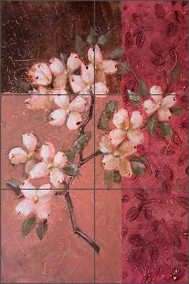 Ceramic Tile Mural Backsplash Rich Dogwood Floral Flower Art OB-WR783