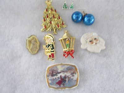 Lot of Eight Pieces of Vintage Christmas Jewelry - Pins, Earrings