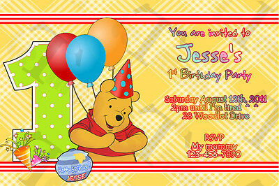 Winnie The Pooh Birthday PERSONALIZED Name and AGE Invitation Printable