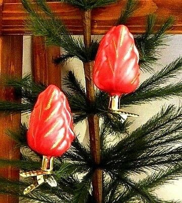 Clip on~Beautiful Red Rose Bud~Mold Blown Glass Easter Ornament/Gift~Germany