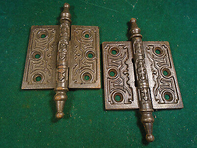 "Pair Vintage Eastlake Hinges   2 1/2""  X 2 1/2""  Steeple Top - Beautiful (6285)"