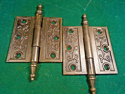 "Pair Vintage Eastlake Hinges  3 1/2""  X 3 1/2""  Steeple Top - Beautiful (6271)"