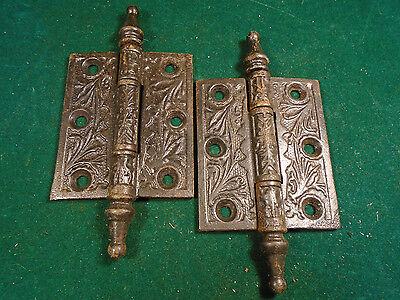"Pair Vintage Eastlake Hinges  3""  X 2 1/2""  Steeple Top - Beautiful (6281)"