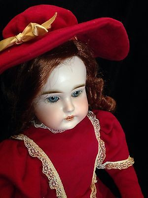 BEST old doll kid leather Jointed Body (Pretty Blue Eyes) Bisque face open mouth