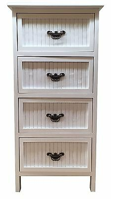 Wooden Bedside White 4 Drawers Nightstand Cabinet Storage Unit Table T10-5029