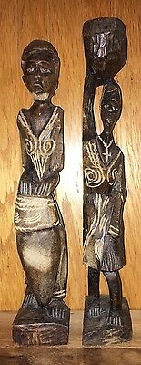 Man & Woman Pair African Tribal Carved Wood Folk Art Statue Figures