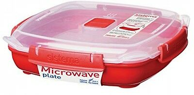 Sistema Microwave Medium Plate Removable Steaming Tray Dishwasher Safe Red 880ML
