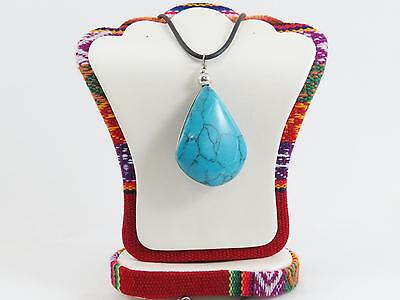"""Fashion Natural Crystal Stone Torquoise Pendant Cord 18"""" Necklace Ps92"""
