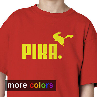 Pokemon GO PIKA Pikachu PUMA Parody Boys Girls Kids T-shirt Tee