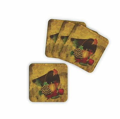 "Thanksgiving Dinner Coffee Table Coasters 3.75"" x 3.75"" Wood 4pcs set"