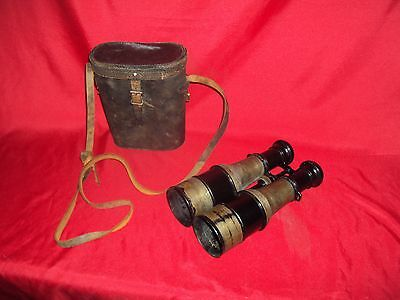 Original Ww1 French Officer Binoculars + Leather Case Wwi Colmont Ft Serie Veco
