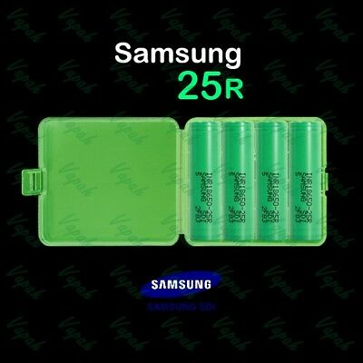 4 SAMSUNG 18650 25R 2500mAh 20A Rechargeable Battery / Green Case / Vape / Mods