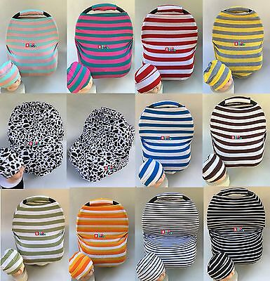 Stretchy Multi-Use Car Seat Canopy Nursing cover+Infant baby Beanie CarryingCase