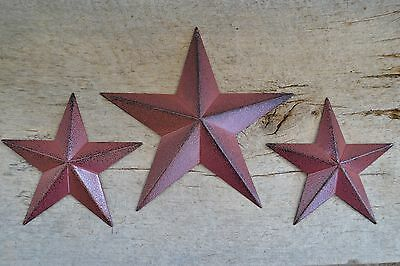 "Set of 3 ~ 8"" 5.5"" BURGUNDY BLACK BARN STARS Metal Tin  Primitive Country 5 1/2"""
