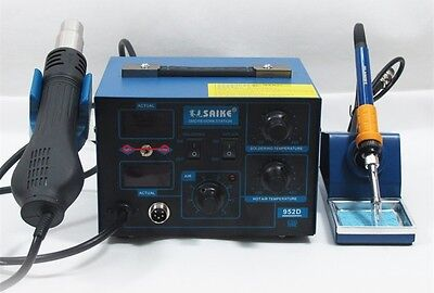 Saike 952D 2 in 1 Solder Rework Station Hot Air Gun + Soldering Iron 760W