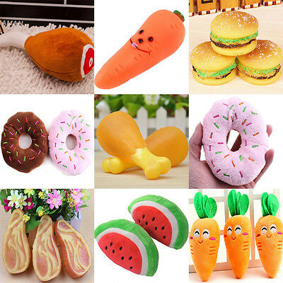 DIY Cute Dog Puppy Pet Chew Squeaky Sound Plush Fruit Donut Carrot Play Toys 1pc