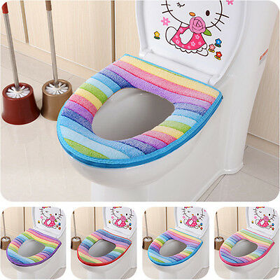 New Comfy Toilet Seat Cover Rainbow Striped Pad Closestool Cloth Bathroom Warmer