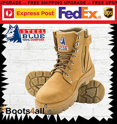 Steel Blue Work Boots Argyle 312152 Wheat Steel Toe Lace Up Zip Sided