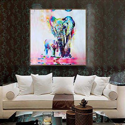 Unframed Canvas Print Home Decor Wall Art Picture Poster Watercolor Elephant New
