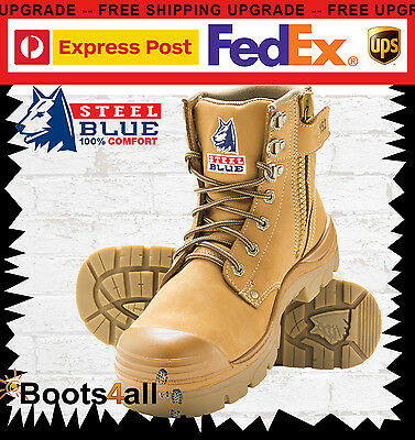 New Steel Blue Mens Work Boots Argyle Wheat Zip Steel Toe Bump Cap 332152