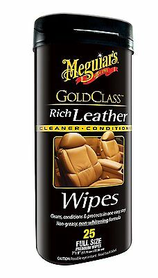 Meguiar's G10900 Gold Class Rich Leather Cleaner&Conditioner Wipes(25 wipes) AOI