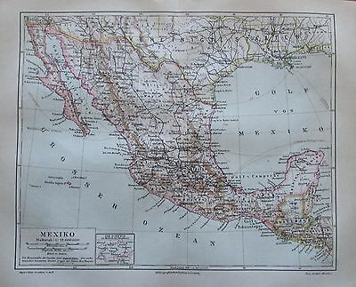 1889 MEXIKO historische Landkarte Lithografie antique map Mittelamerika