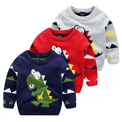 Toddler Baby Boy Dinosaur Pullover Knitted sweaters Tops T-shirt Sweatshirt 2-7Y