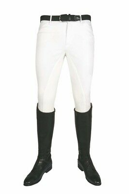 MEN'S BREECHES-WHITE- 3/4 ALOS WITH SILICONE KNEE BATCH- By Kingston HKM (568...