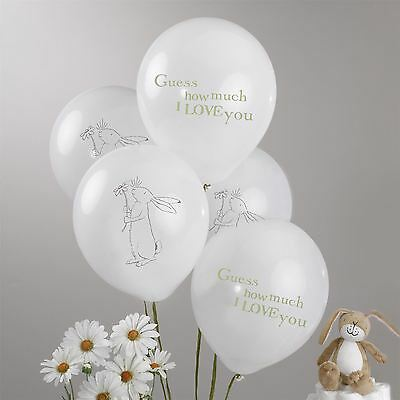 8 Guess How Much I Love You Balloons in a Mix of 2 Designs, White Baby Shower