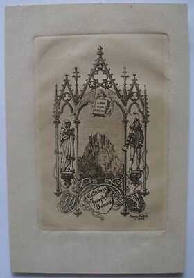 1922 Henry Andre Engraved French Bookplate  Ex-Libris Joseph Dumas Book Collecto